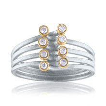 Harmony Interconnecting Ring with Diamonds, White Rhodium, Silver & 14k Gold