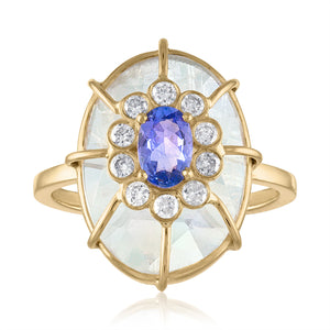 Moonstone,Tanzanite and Diamond Dome Ring