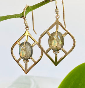 Lantern Shape Earrings with Labradorite and Ethiopian Opal