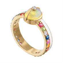 Unity Ring with Sapphires, White Enamel & Ethiopian Opal by LORIANN Jewelry