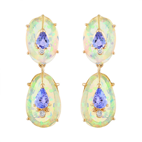 Double Drop Ethiopian Opal and Tanzanite Earrings