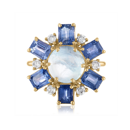 Moonstone and Blue Sapphire Statement Ring