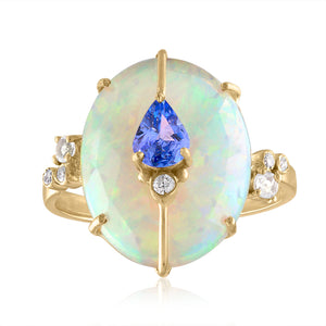 One-Of-A-Kind Ethiopian Opal and Tanzanite Ring
