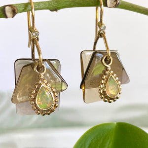 Smoky Quartz and Ethiopian Opal Slice Earrings