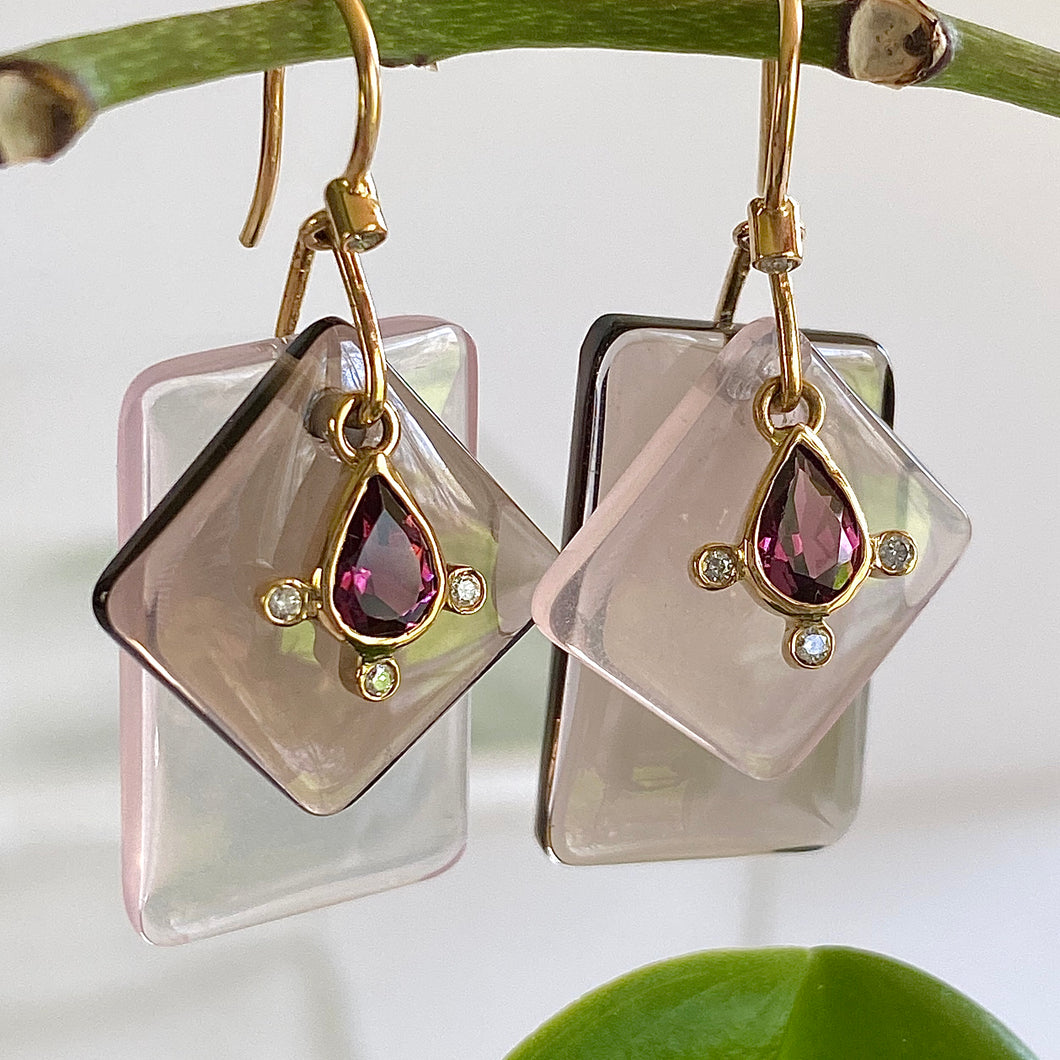 Rose Quartz, Smokey Quartz and Garnet Slice Earrings