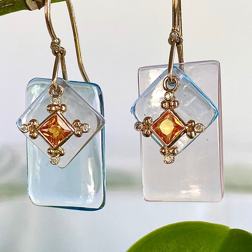Blue Topaz, Rose Quartz and Orange Sapphire Slice Earrings