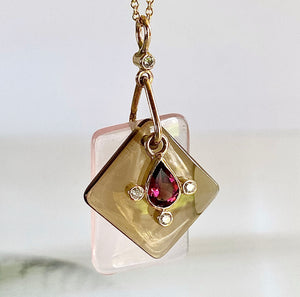 Rose Quartz, Smoky Quartz and Garnet Slice Pendant