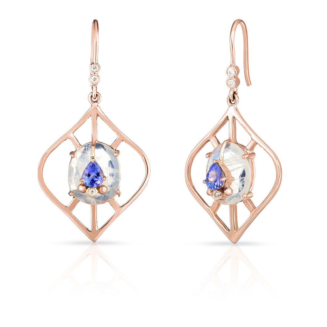 Moderne Lantern Shape Earrings with Moonstone & Tanzanite (MOD-E16) by LORIANN Jewelry