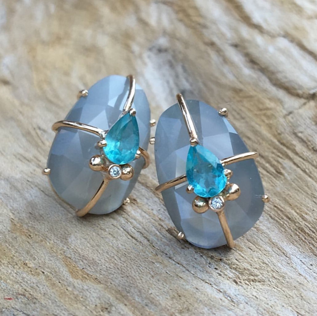 Grey Moonstone and Apatite Earrings