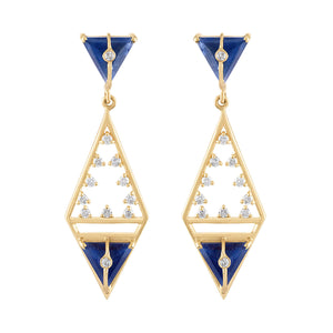 Moderne Geometric Shape Earrings with Sapphires & Diamonds