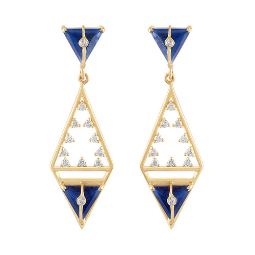 Moderne Geometric Shape Earrings with Sapphires & Diamonds by LORIANN Jewelry