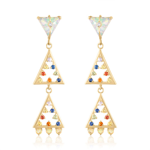 Moderne Geometric Shape Earrings with Multi Sapphires, Opals & Diamonds by LORIANN Jewelry