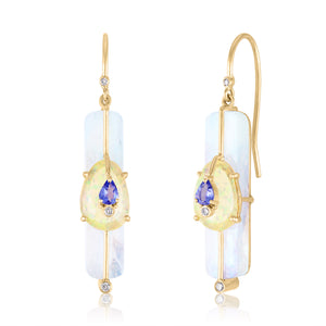 Earrings with Moonstone, Ethiopian Opals and Tanzanite