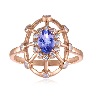 Tanzanite and Diamond Dome Ring