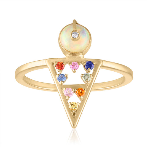 Moderne Geometric Shaped Ring with Multi Sapphires, Opals & Diamonds by LORIANN Jewelry