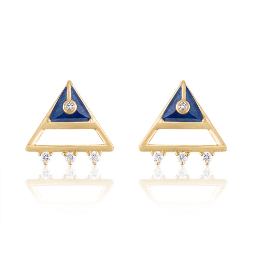 Moderne Triangle Shape Stud Earrings with Sapphires & Diamonds by LORIANN Jewelry