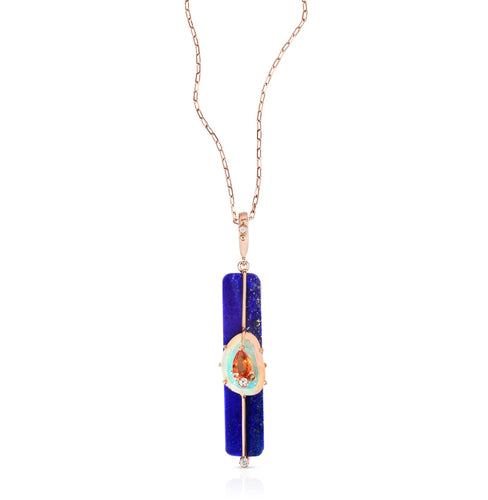 Moderne Lapis Gemstone Stick Pendant Necklace with Opal Sapphire & Diamonds