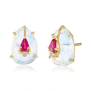 Earrings with Moonstones, Ruby and Diamond Accents