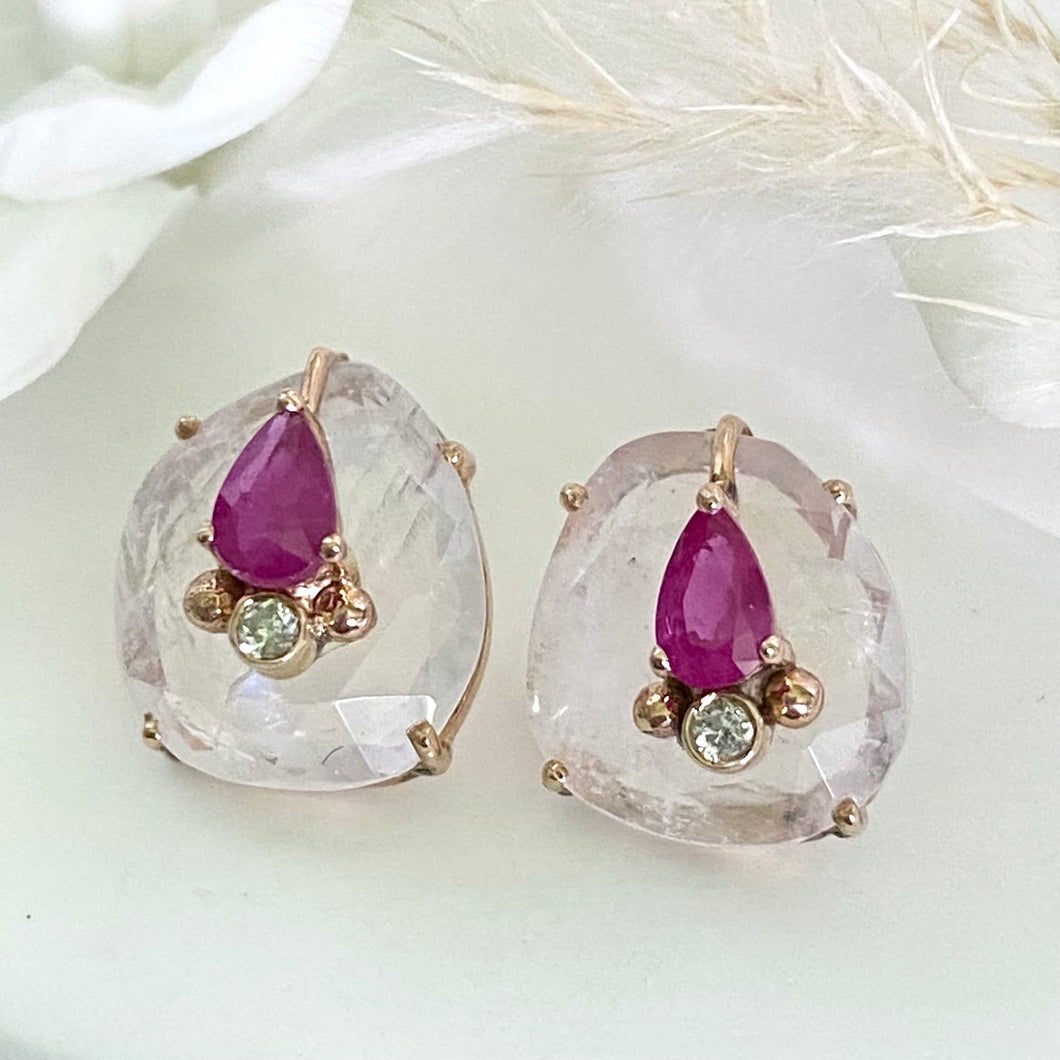 MOONSTONE AND RUBY STUD EARRINGS