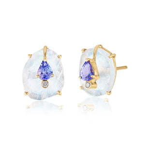 Moonstone Earrings with Tanzanite and Diamond Acccebts