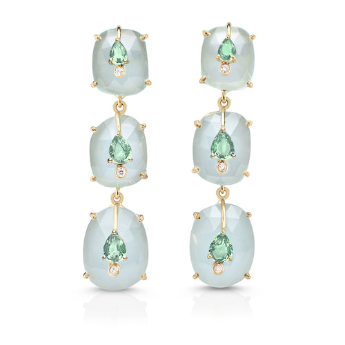 Organique Cascade Earrings with Milky Aqua & Sapphires by LORIANN Jewelry