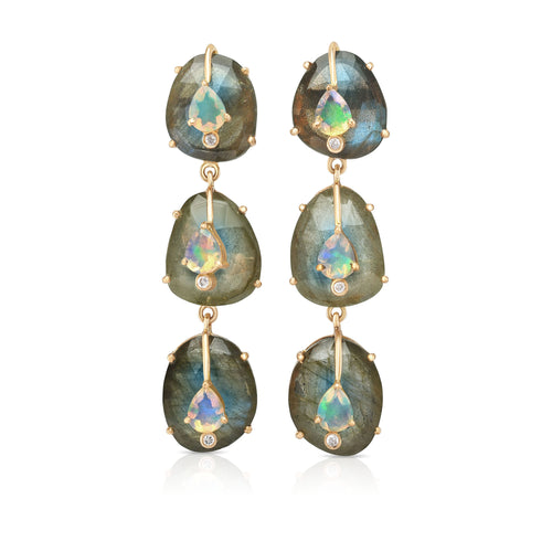 Organique Cascade Earrings with Labradorite & Opal by LORIANN Jewelry