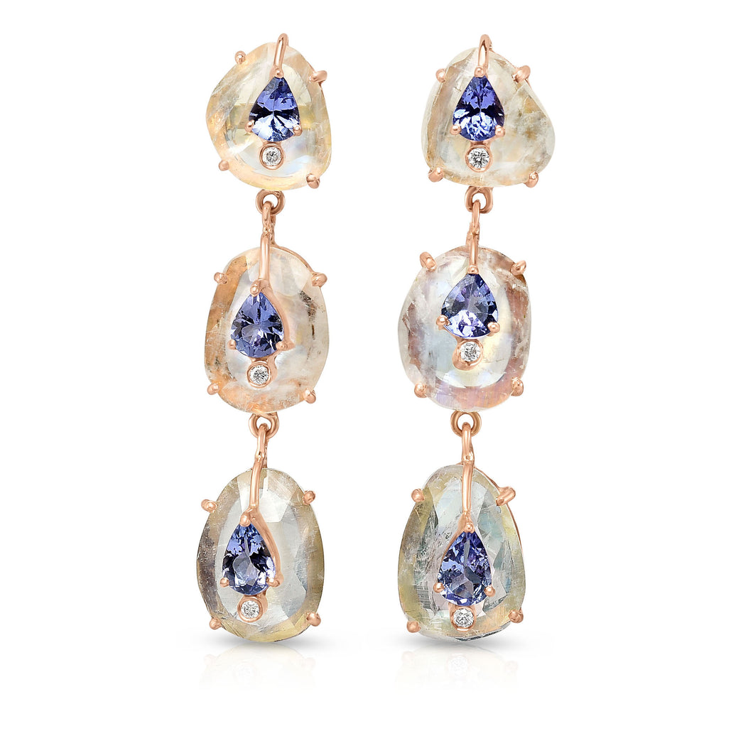 Organique Cascade Earrings with Moonstone & Tanzanite by LORIANN Jewelry