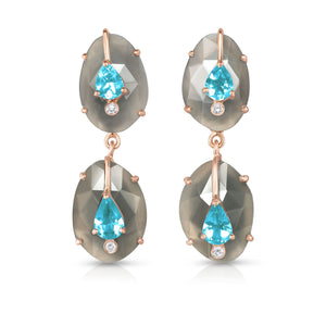 Organique Double Drop Earrings with Gray Moonstone & Apatite by LORIANN Jewelry
