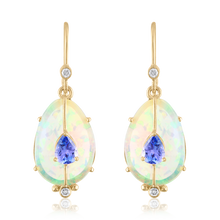 Opal and Tanzanite Drop Earrings