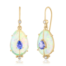 Single Drop Opal Earrings with Tanzanite