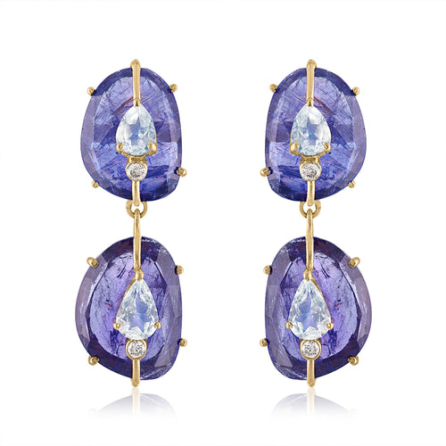Double Drop Tanzanite Earrings