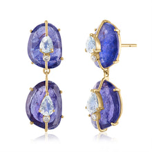 Tanzanite Double Drop Earrings with Moonstones