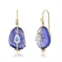 Tanzanite Earrings with Moonstone and Diamonds