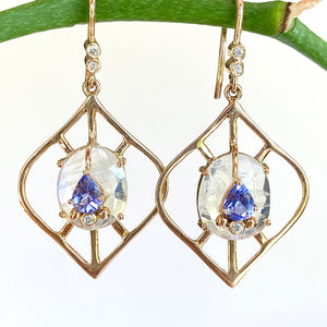 Moonstone and Tanzanite Earring