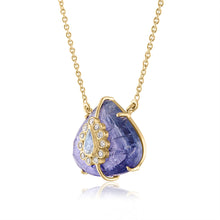 Tanzanite Pendant with Moonstone and Diamonds