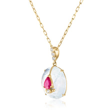 14K Pendant with Moonstone and Ruby