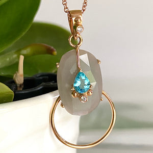 Gray Moonstone with Apatite and Blue Sapphire Pendant