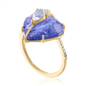 Tanzanite Ring with Moonstone and diamonds