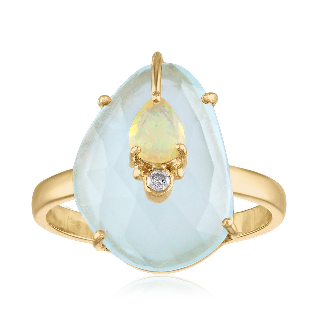 Milky Aquamarine and Opal Ring
