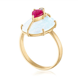 One of a Kind Moonstone Ring with Ruby