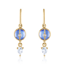 Organique2 Dangle Earrings with Tanzanite, White Topaz, Diamonds & 14k Gold