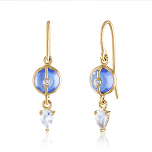 Tanzanite and White Topaz Dangle Earrings