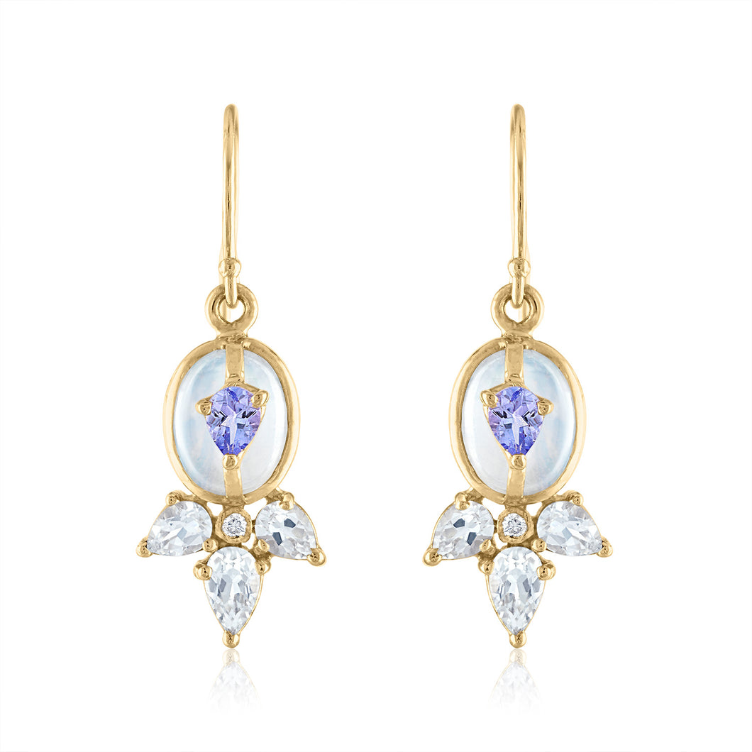 Moonstone and Tanzanite Dangle Earring