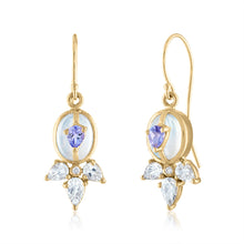 Moonstone Earrings with Tanzanite and Topaz