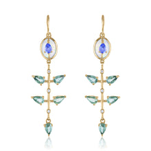 Organique2 Dangle Earrings with Opal, Tanzanite, Green Sapphire, Diamonds & 14k Gold
