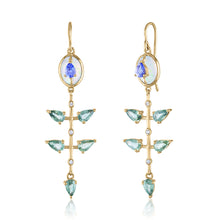 Opal and Green Sapphire Dangle Earring