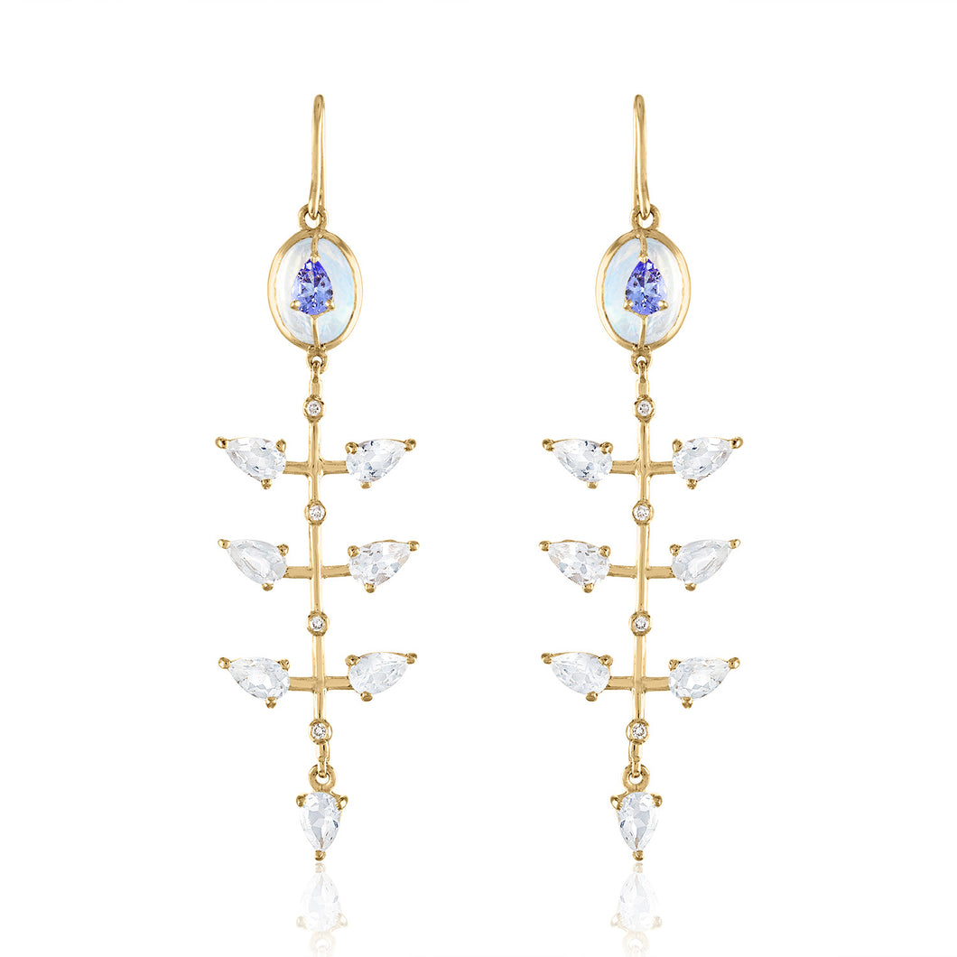 Organique2 Dangle Earrings with Moonstone, Tanzanite, White Topaz, Diamonds & 14k Gold