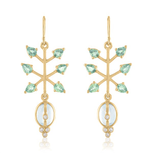 Moonstone Earrings with Green Sapphire
