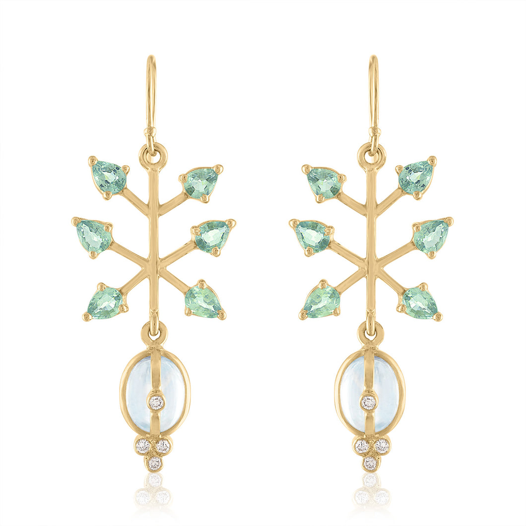 Organique2 Dangle Earrings with Moonstone, Green Sapphire, Diamonds & 14k Gold