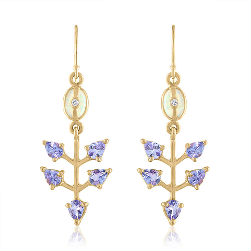 Opal Earring with Tanzanite and Diamonds